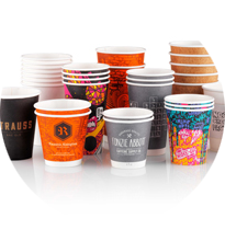 Collection of custom branded coffee cups